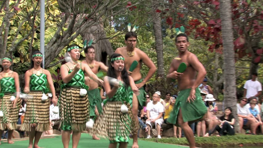 LAIE, OAHU, HAWAII CIRCA FEB 2011: Spectators visit Polynesian Cultural Center at BYU Hawaii students earn money by presenting shows in Laie Oahu Hawaii. New Zealand culture.