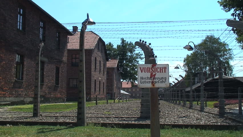AUSCHWITZ, POLAND - CIRCA 2010: The electric fence at Auschwitz-Birkenau Concentration Camp.