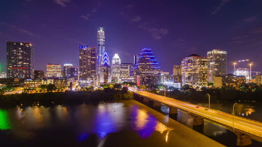 Austin, Texas, USA downtown skyline time lapse on the Colorado River. | Shutterstock HD Video #18059080