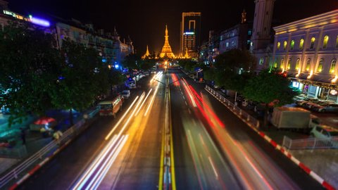 Sule Pagoda Landmark Ancient Pagoda Place Bright In Night Yangon Cityscape 4K Time Lapse Of Yangon City, Myanmar (zoom in)