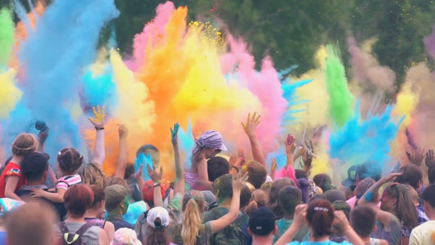 "KRASNOYARSK / RUSSIA -  June 18, 2016 / City festival called ""Green"". Colorful holi."