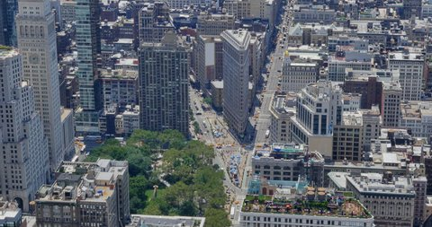 NEW YORK - Circa July, 2016 - A high angle view of the Flatiron Building and surrounding area on a summer day.