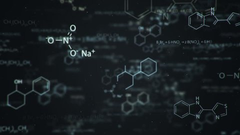 Animation of typing formulas of chemistry in abstract digital space. Animation of seamless loop.