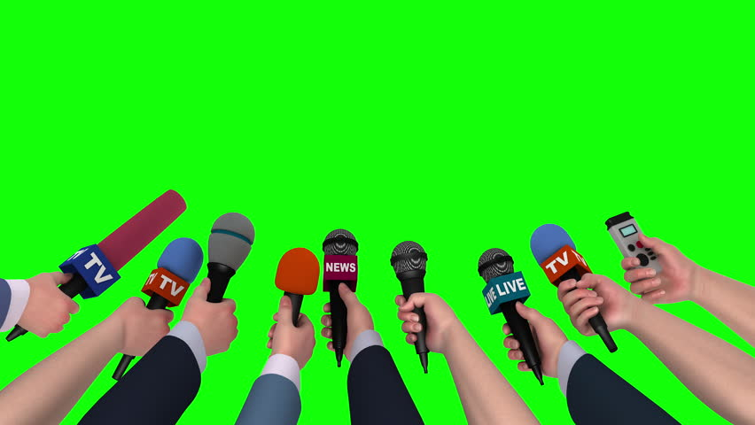 News conference, hands holding microphones on green screen, looping, 3D #18104605