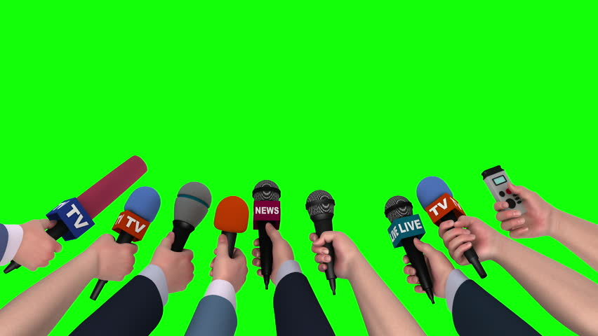 Microphones in the hands of journalists on green background, 3D animation | Shutterstock HD Video #18105565