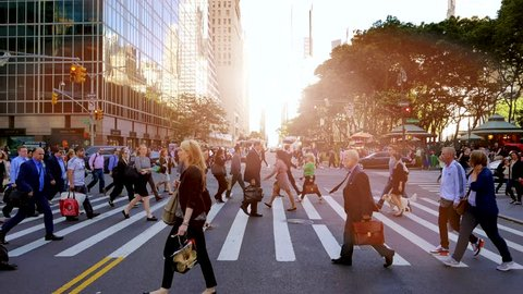 NEW YORK - MAY: 2016, pedestrians walking on crowded city street. people commuting background
