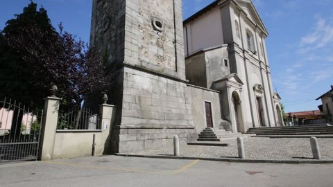 in italy  sumirago  ancient   religion  building    for catholic and clock tower