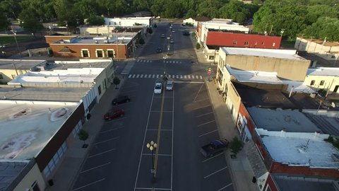 Drone shot of downtown area in a small town in Kansas