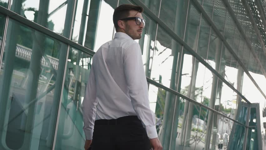 Rear view of handsome businessman with suitcase in modern airport terminal glass wall background. Travelling guy concept | Shutterstock HD Video #18182185