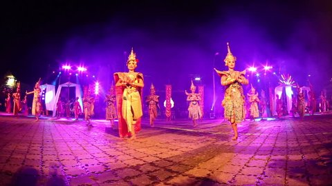 Nakhon Ratchasima, Thailand - July 18-20, 2016:Candles festival in Nakhon Ratchasima, Wax festival in Nakhon Ratchasima,Thai Dancing show in Nakhon Ratchasima.