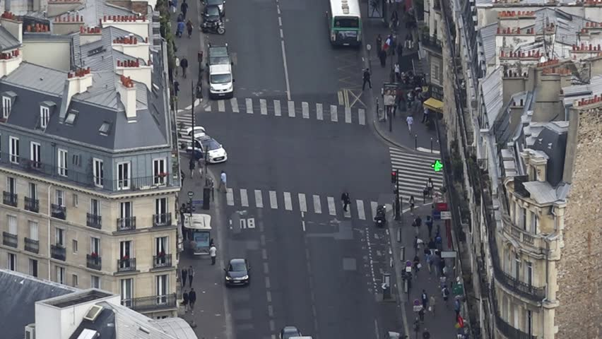 Streets In Paris Aerial Shot, France. Street in Paris shot from top of Montparnasse Tower in Paris, France | Shutterstock HD Video #18190105