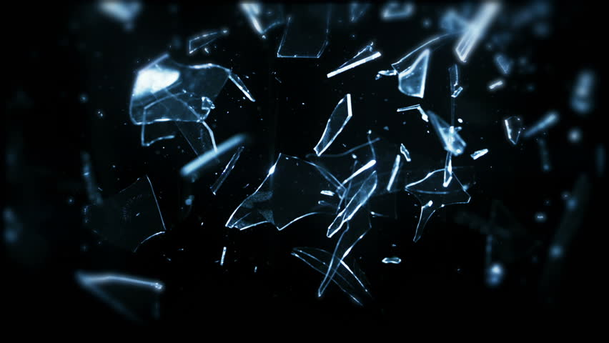 High speed camera shot of shattering glass, isolated on a black background. Can be pre-matted for your video footage by using the command Frame Blending - Multiply.  | Shutterstock HD Video #18212185