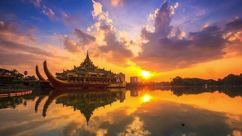 4k. Time lapse Landmark Karaweik palace In Kandawgyi Nature Park of Yangon, Myanmar
