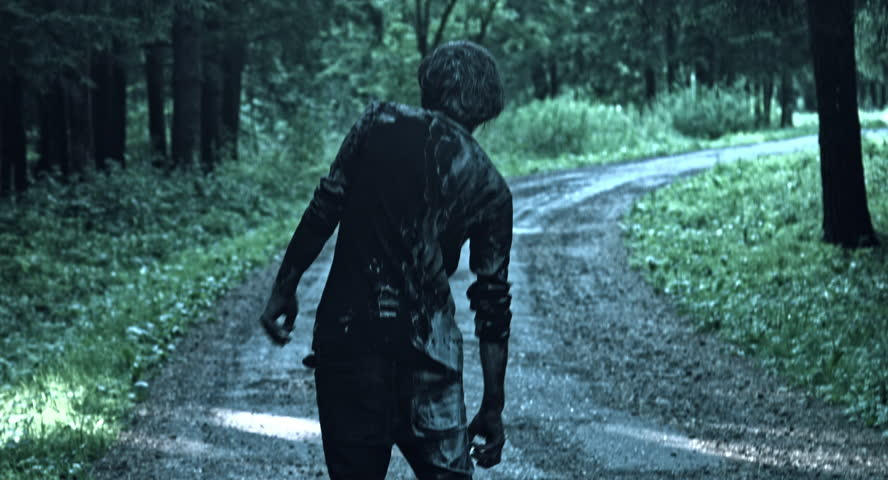Zombies are walking through the woods.