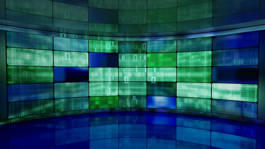 IT high-tech background on screens in virtual studio loop