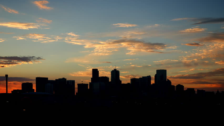 Denver Skyline Silhouette with glowing clouds at sunrise. 4K UHD wide angle time-lapse. | Shutterstock HD Video #18285445