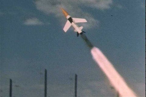 Missiles are launched towards targets at the US Army White Sands Missile Range in New Mexico. (1960s)