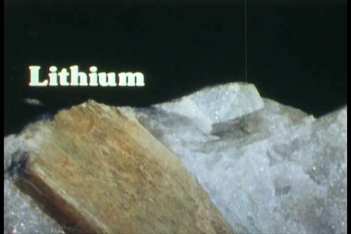 Non metallic mineral stones such as Feldspar, Lithium and Phosphate are shown in this clip from the 1980s. (1980s)