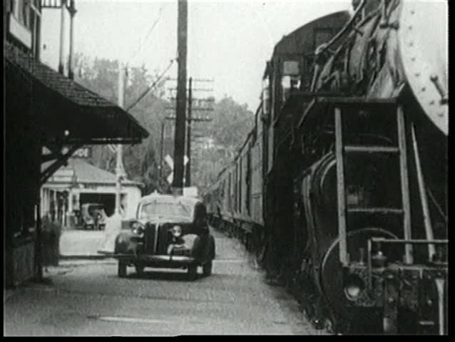 Train pulling into railroad station