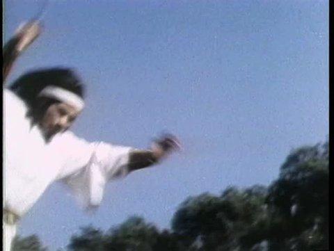 Asian warrior doing triple somersault