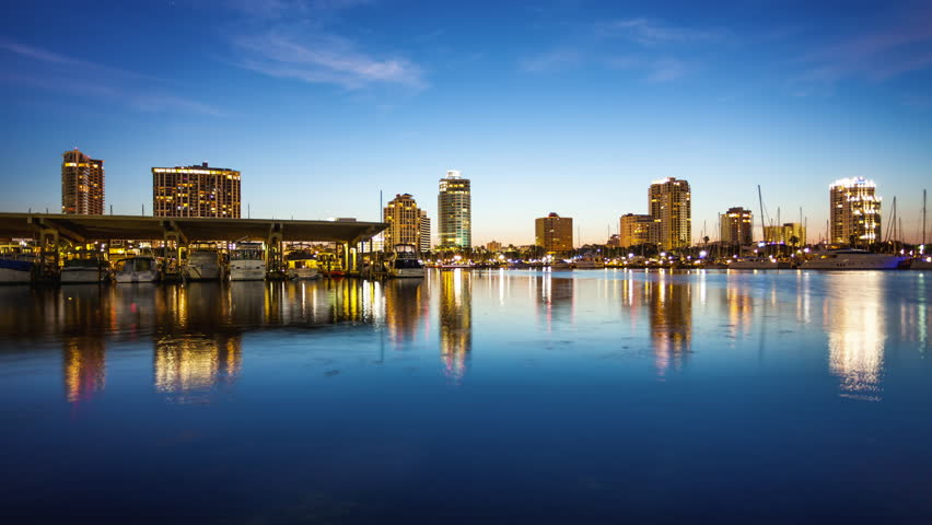 St. Petersburg, Florida Skyline and Marina Cityscape - Time Lapse | Shutterstock HD Video #18348358