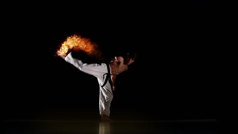 Karate Fighter With Burning Hit, Photo Manipulation, Square