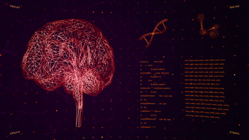 Background with animation of abstract interface. Human body, head, hands, brain, DNA spirals and models of atom in wireframe style and animation programming codes. Animation of seamless loop.