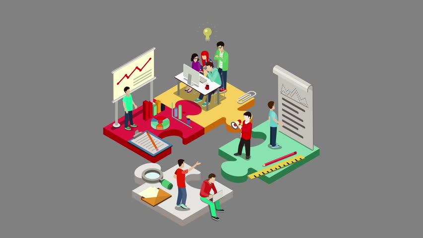 StartUP flat 3d isometric cartoon looped animated concept. Puzzle solution idea research report team business planning 4k video with alpha.