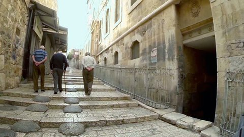 Strolling in the old city of Jerusalem, Israel