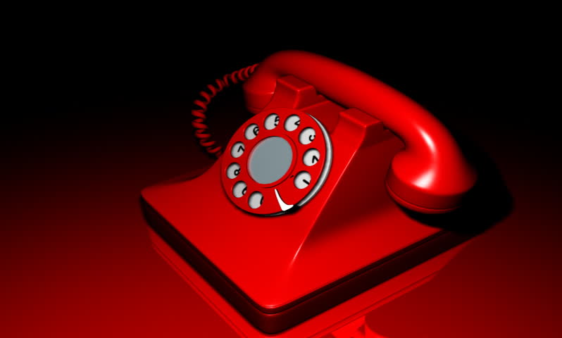 footage of a red colour telephone ringing