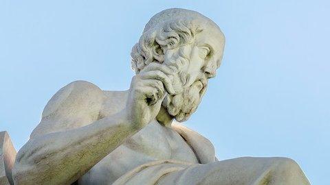 Close Up of Ancient Greek Philosopher Plato Motion Time Lapse