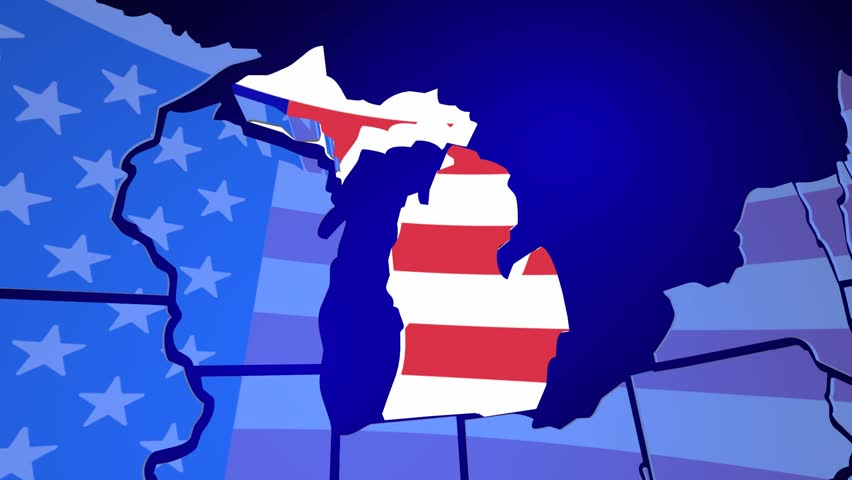 Michigan State Map USA Flag D Animation Stock Footage Video - State of state of michigan on a us map