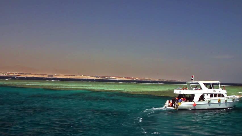 Boat near the reef Tiran, Red Sea, Egypt.
