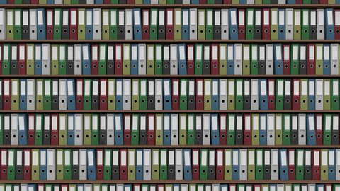 Big archive full of colored binders horizontal dolly shot. 4K seamless loop able footage