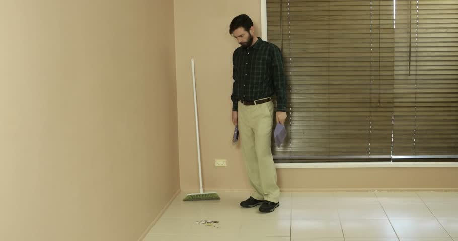 Suburban average man conservative clean cut looking cleaning real estate | Shutterstock HD Video #18569375
