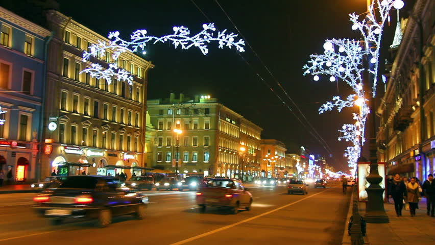 Nevsky Prospect in St. Petersburg at Christmas night