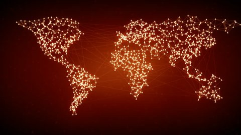 Social network connection. Connecting people on the internet, nodes transforming into the shape of a world map. Orange version. Also available in green. 4K