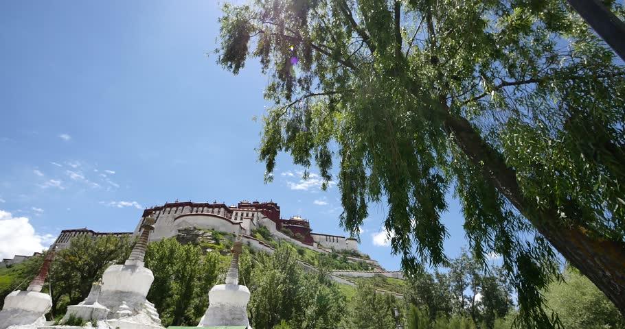 4k Potala & white stupa in Lhasa,Tibet. gh2_08878_4k