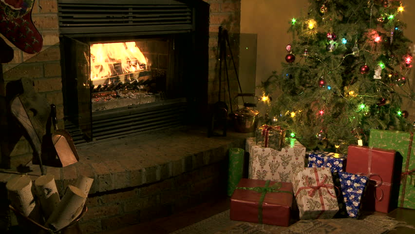 Home Christmas scene with tree, presents and fireplace