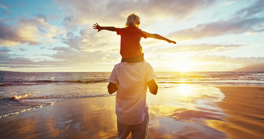 Happy father and son playing on the beach at sunset | Shutterstock Video #18597332