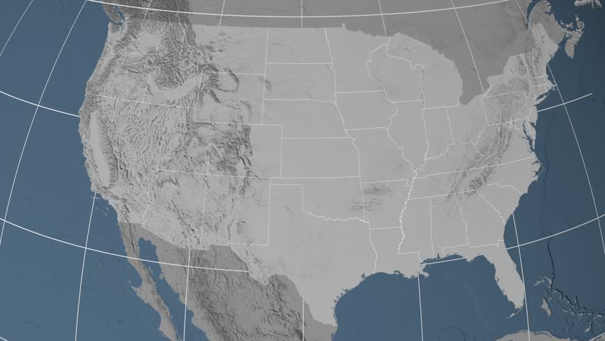 Texas Region Extruded On The Elevation Map Of United States - Texas elevation map