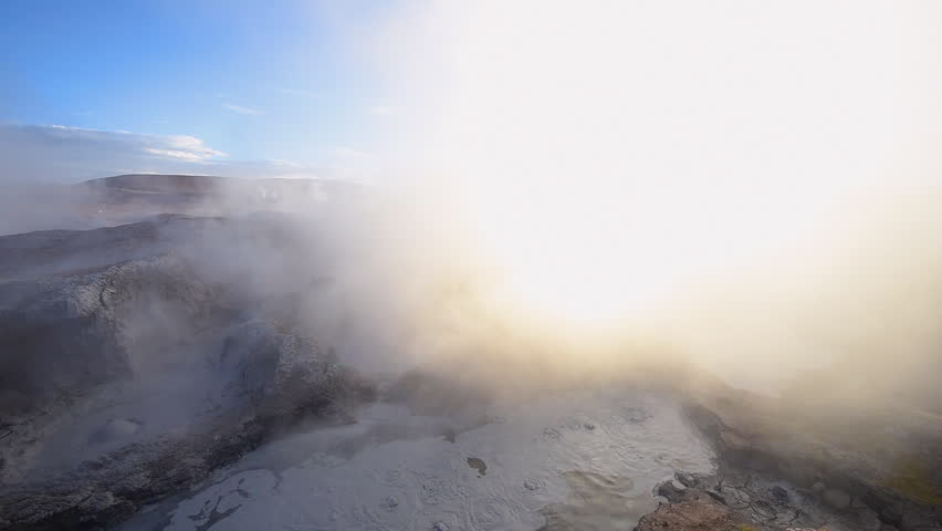 Mud geyser in Sol De Manana at sunrise ,Altiplano Bolivia | Shutterstock HD Video #18650495