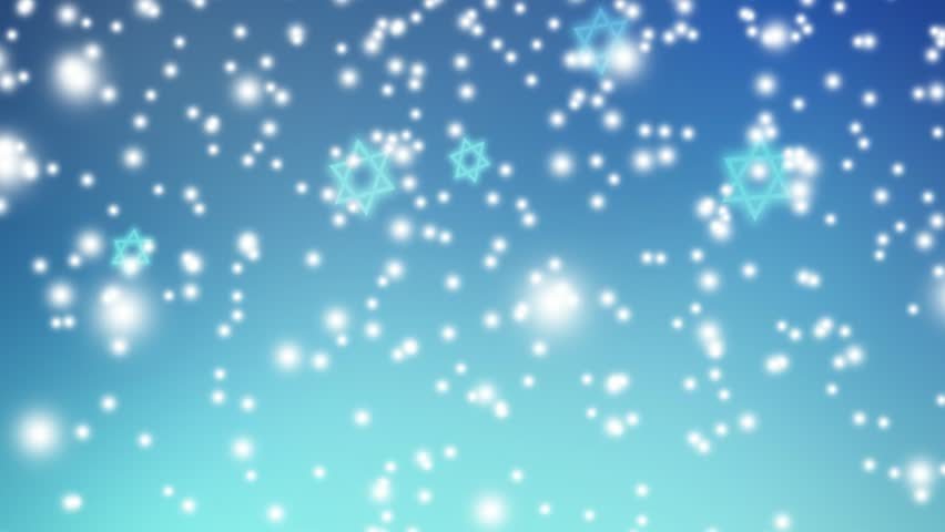 Abstract blue background with falling lights and Jewish stars. HD Israeli animation for Jewish holidays Hannukah, Pesach, Rosh Hashanah, Purim