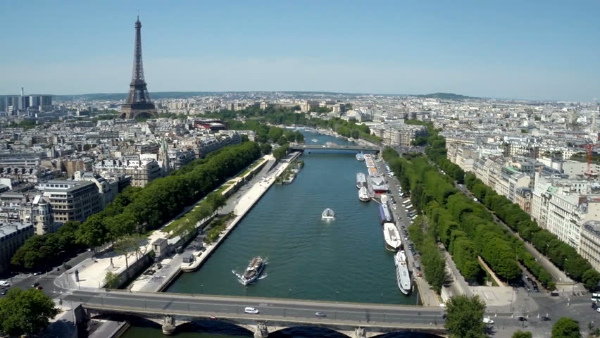 Aerial View Of Paris, France With Seine River And Eiffel