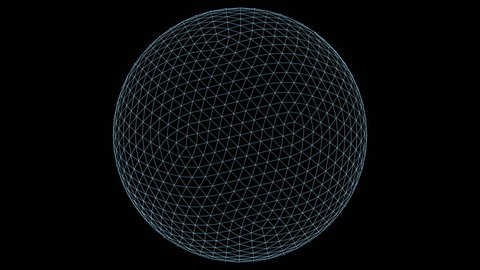 Retro 3D Vector Sphere Wireframe. Wireframe of a sphere with holographic flicker and chromatic aberration for screen replacements and simulation.