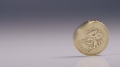 4K British One pound Sterling coin spinning, in slow motion, with space for text