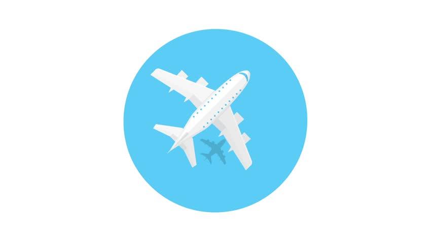 Plane animated icon. Airplane trendy icon. Plane on a blue circle.
