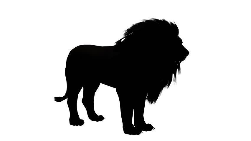 Lion howl trumpet,Endangered wild animal wildlife sketch silhouette. cg_02480 #18721925