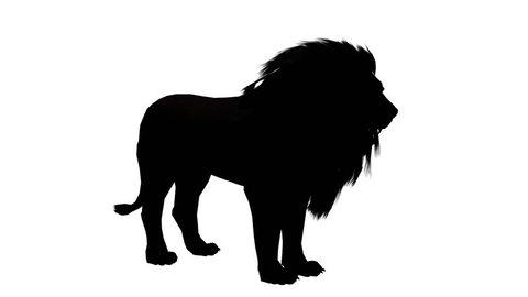 Lion howl trumpet,Endangered wild animal wildlife sketch silhouette. cg_02480