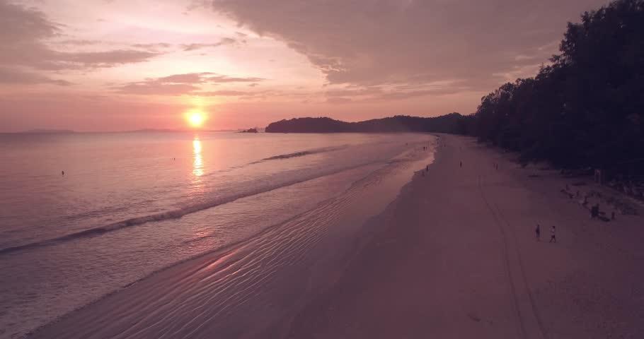 Ao Yai Beach Sunset on Koh Phayam in Ranong, Aerial Tracking Shot   Shutterstock HD Video #18748715